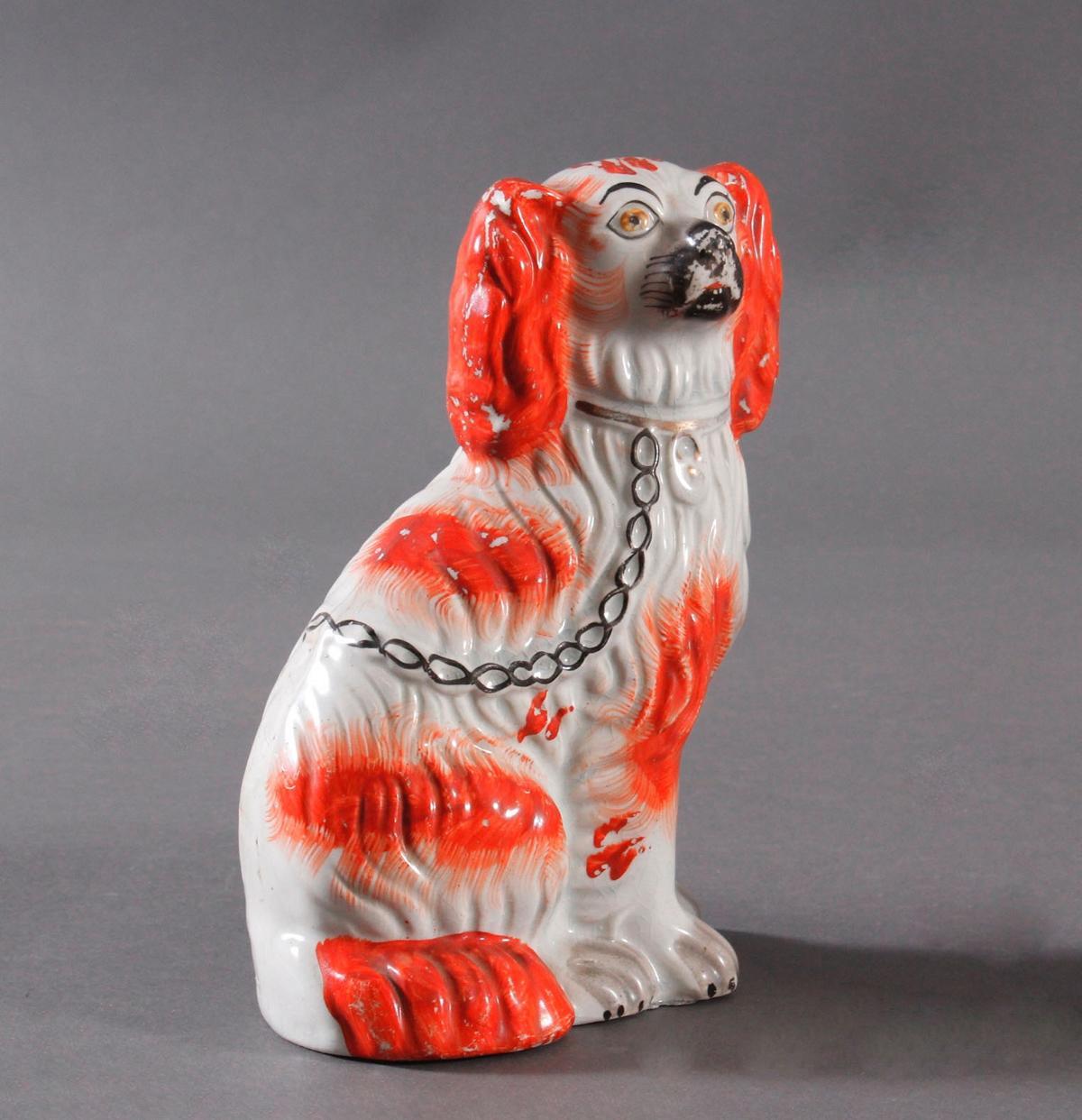 Kamin Hunde-Paar, Staffordshire Spaniels, England 19. Jahrhundert-3