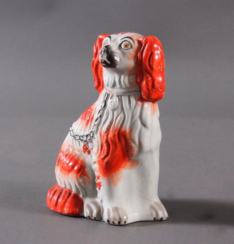 Kamin Hunde-Paar, Staffordshire Spaniels, England 19. Jahrhundert-4