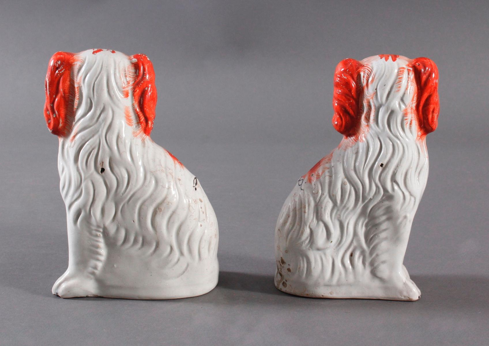 Kamin Hunde-Paar, Staffordshire Spaniels, England 19. Jahrhundert-5