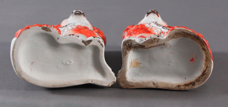 Kamin Hunde-Paar, Staffordshire Spaniels, England 19. Jahrhundert-6