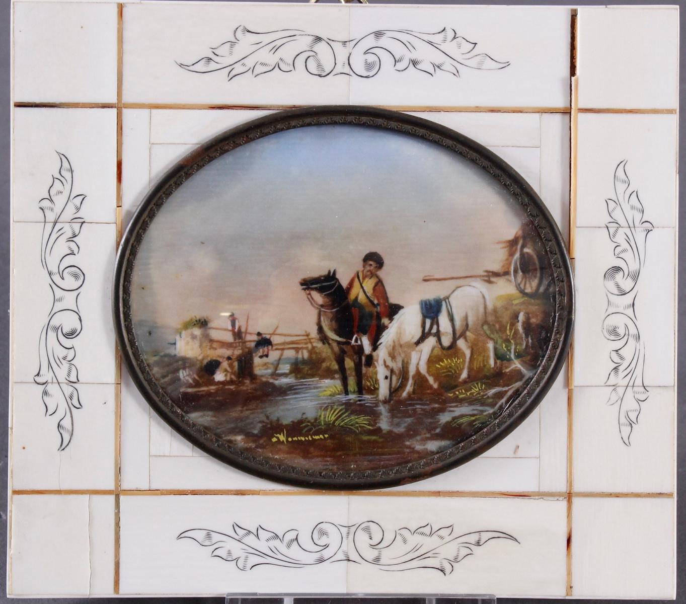 Elfenbein-Miniatur 'Der Fuhrmann' aus dem 19. Jh.