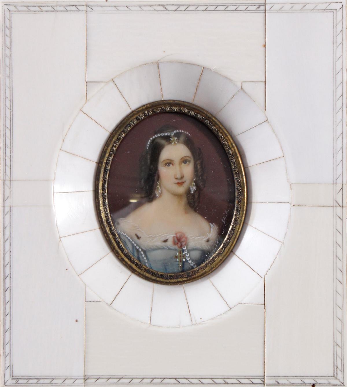 Elfenbein-Miniatur 'Charlotte v. Hagn' aus dem 19. Jh.