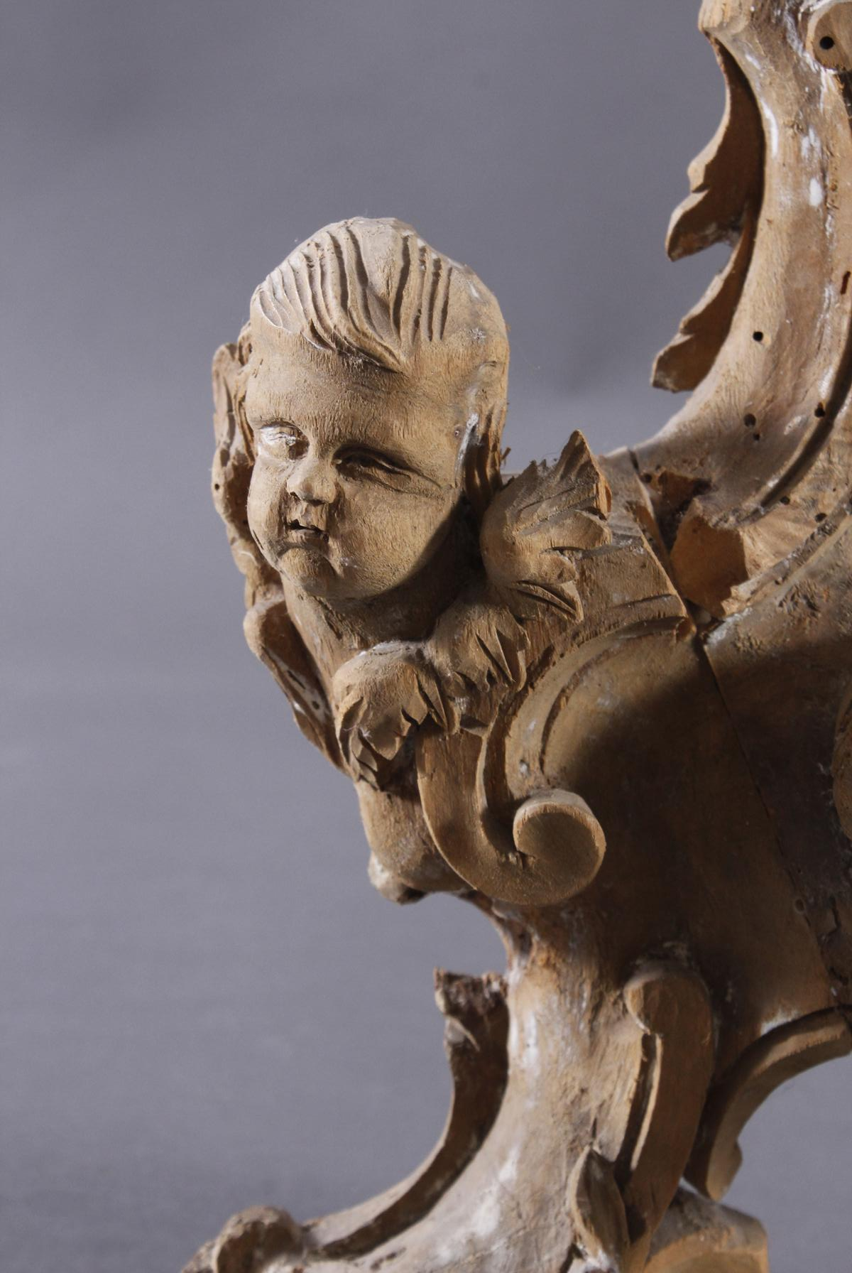 Barocke Skulptur aus Lindenholz mit Puttiköpfen, 18. Jh.-2