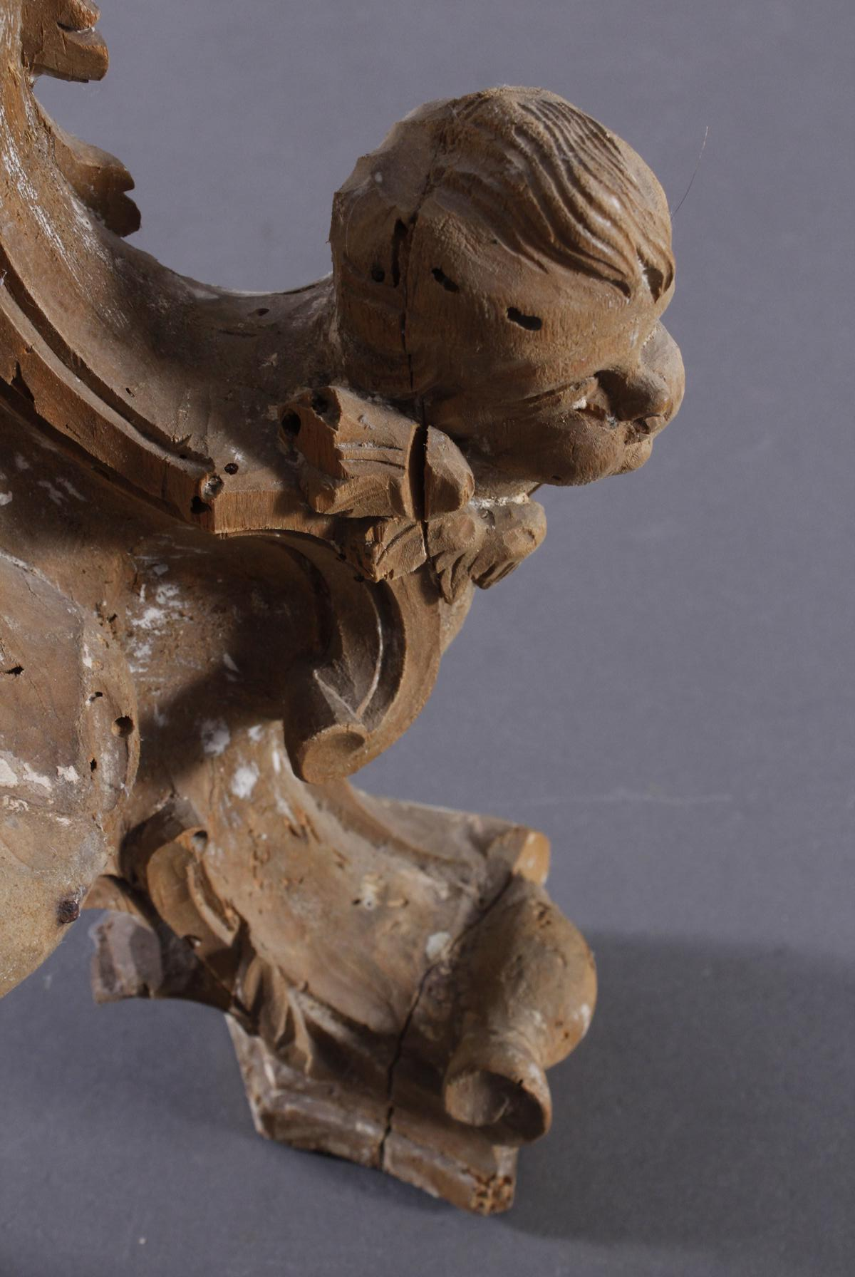 Barocke Skulptur aus Lindenholz mit Puttiköpfen, 18. Jh.-7