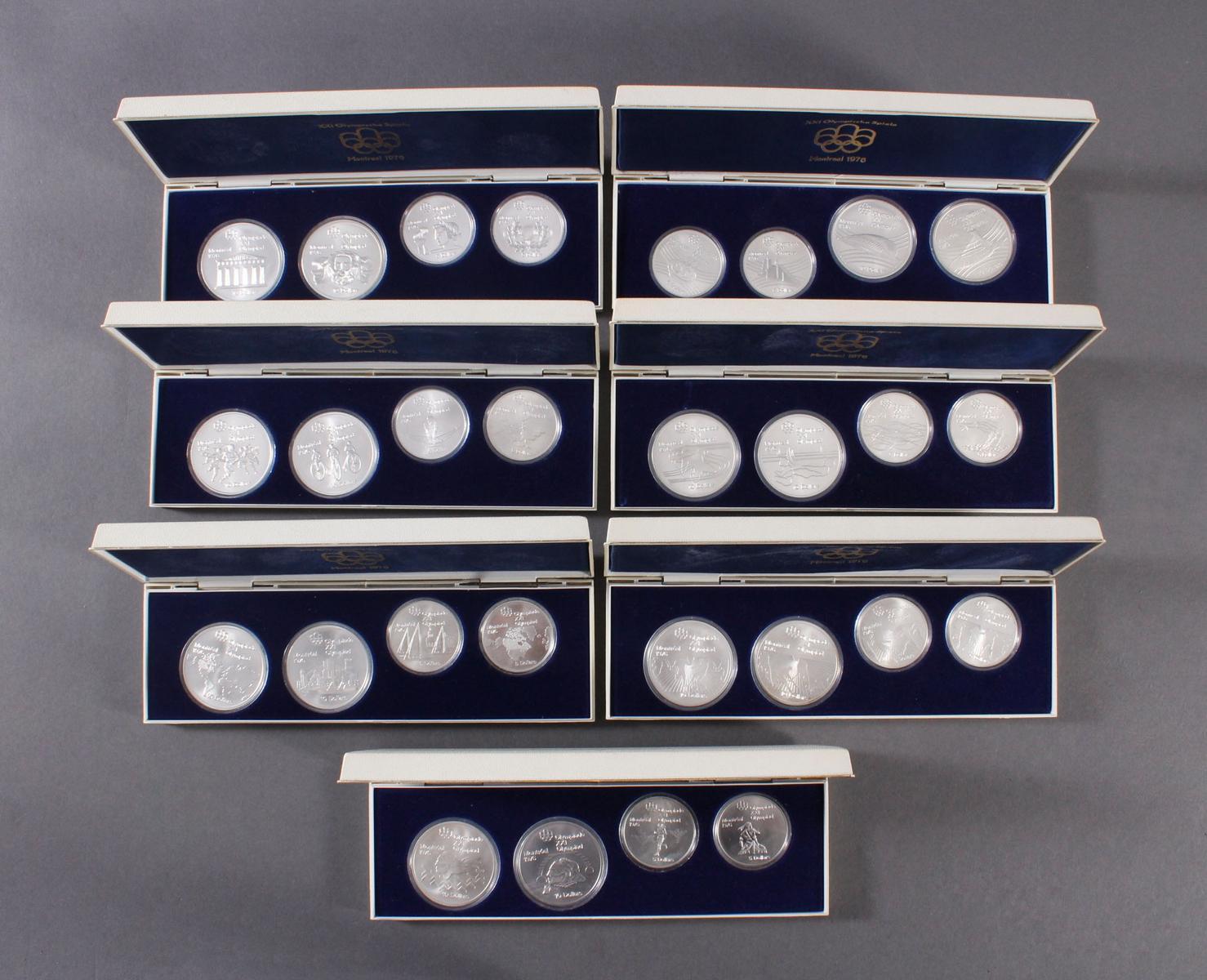 28x Silbermünzen Montreal 1976, kompletter Satz