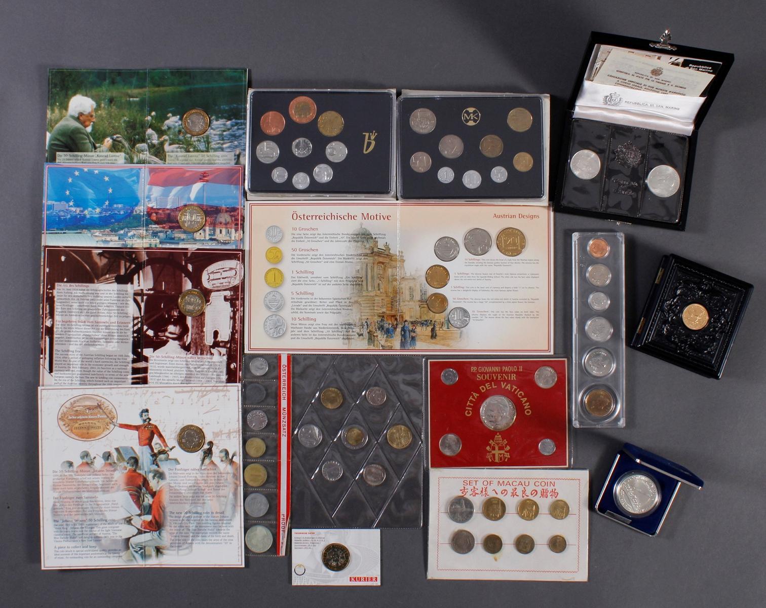 Kleine Sammlung Kursmünzsätze und Sonderprägungen vor Euro-Einführung