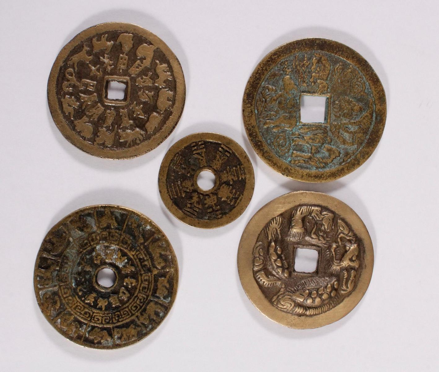 5 Käsch Münzen / asiatische Medaillen 19./20. Jahrhundert
