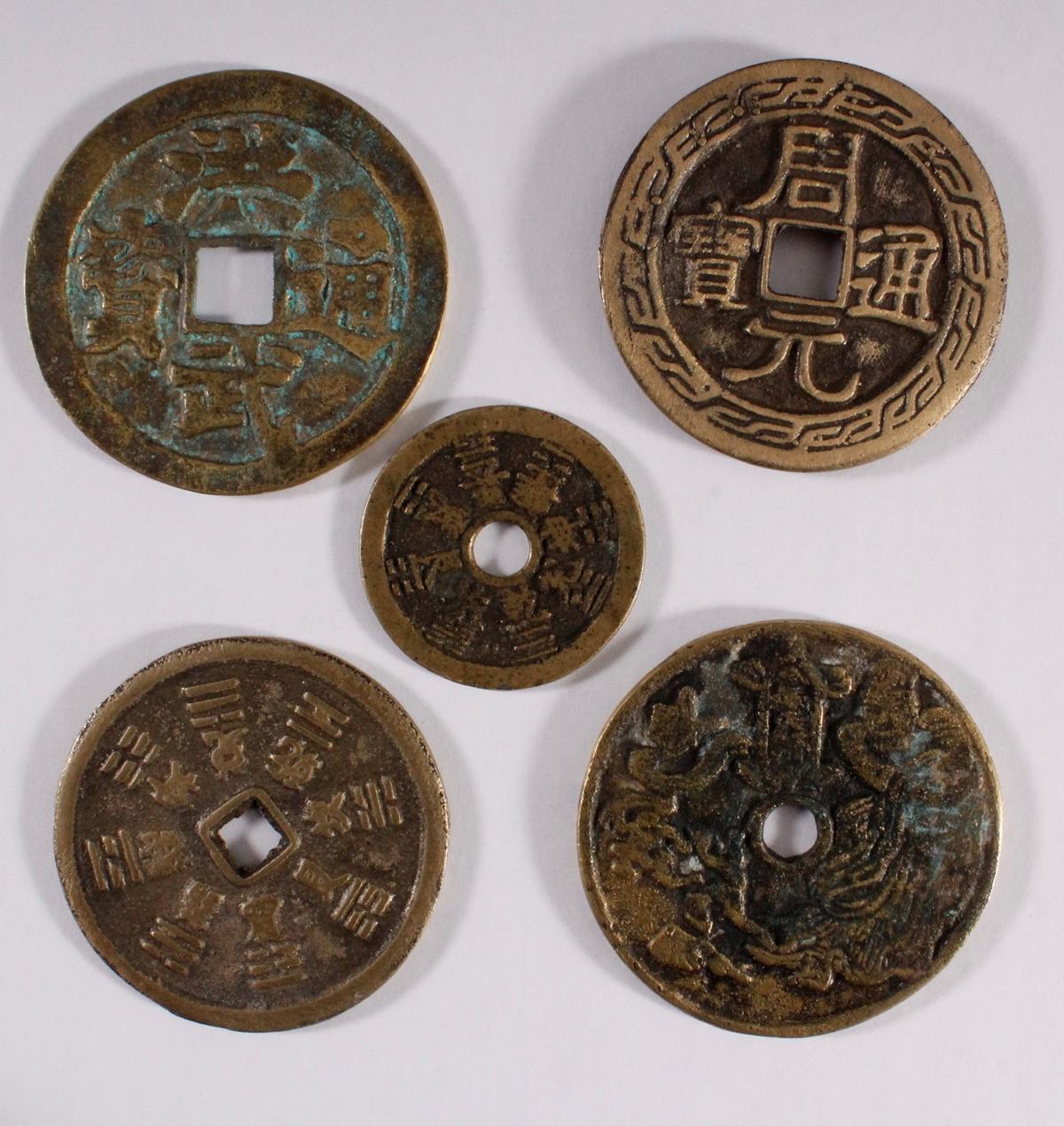 5 Käsch Münzen / asiatische Medaillen 19./20. Jahrhundert-2