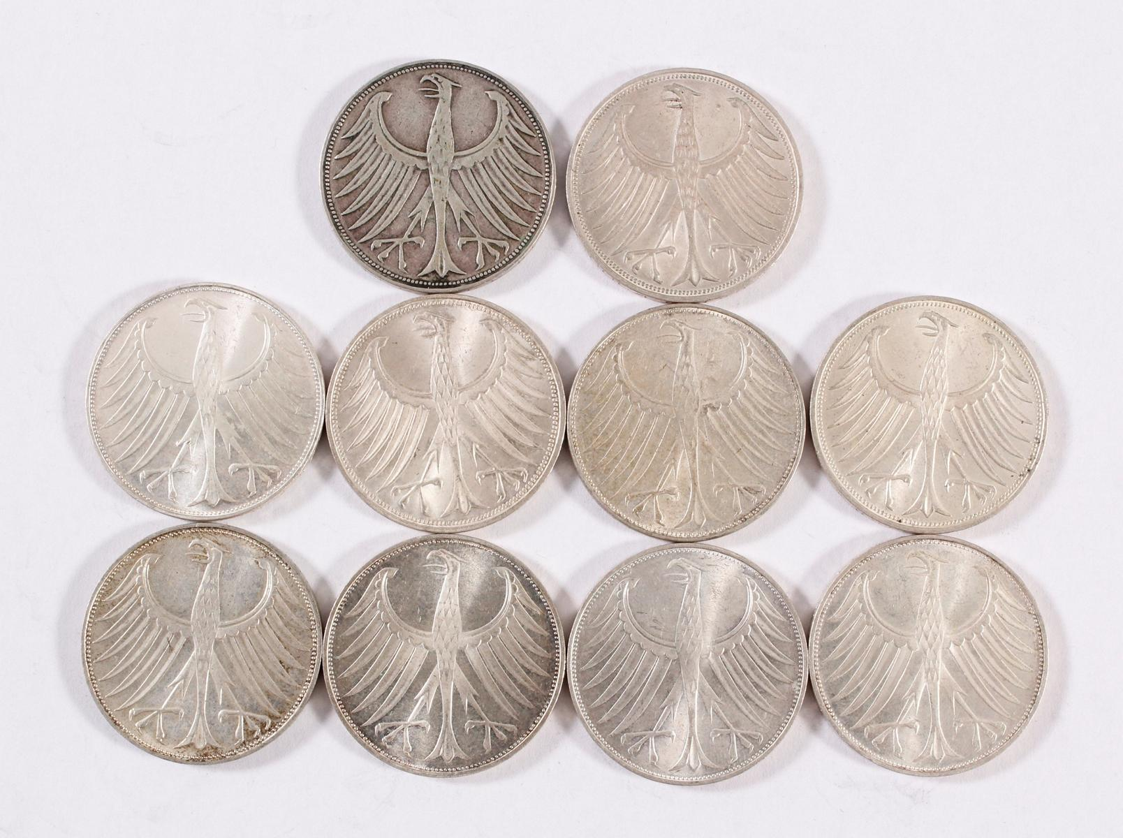 BRD 5 Mark Silberadler, 10 Stück-2