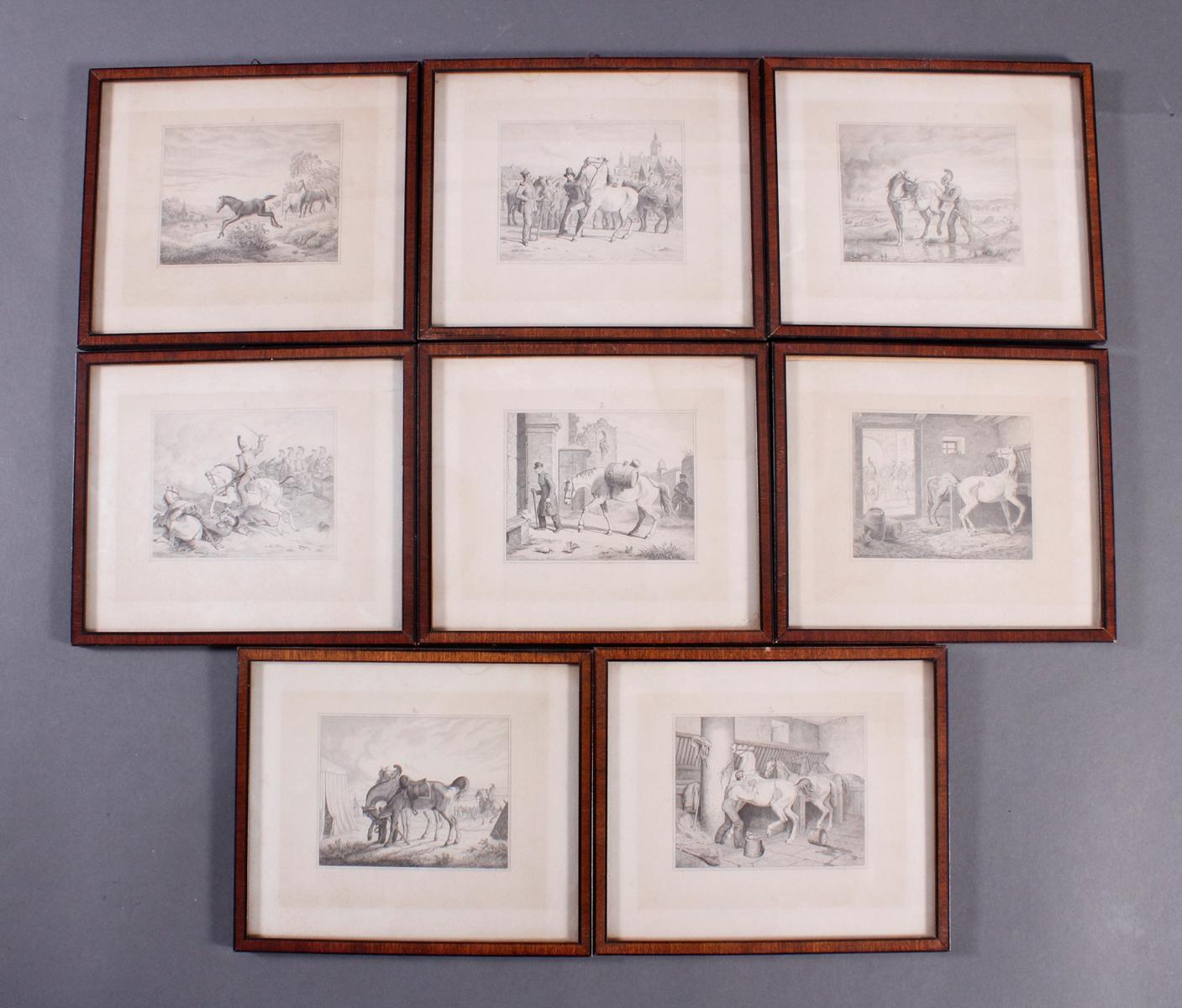 Acht Stahlstiche, Pferde und Reiter, 19. Jahrhundert