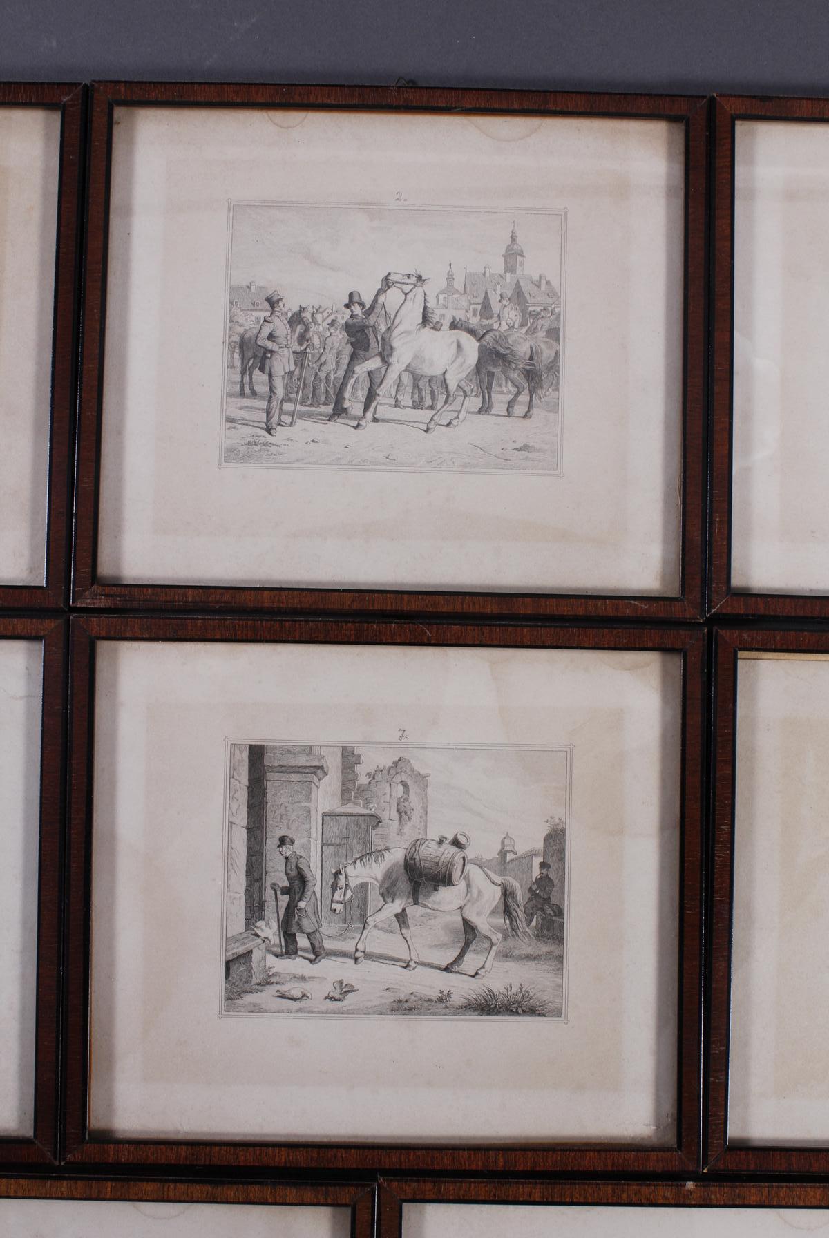 Acht Stahlstiche, Pferde und Reiter, 19. Jahrhundert-3