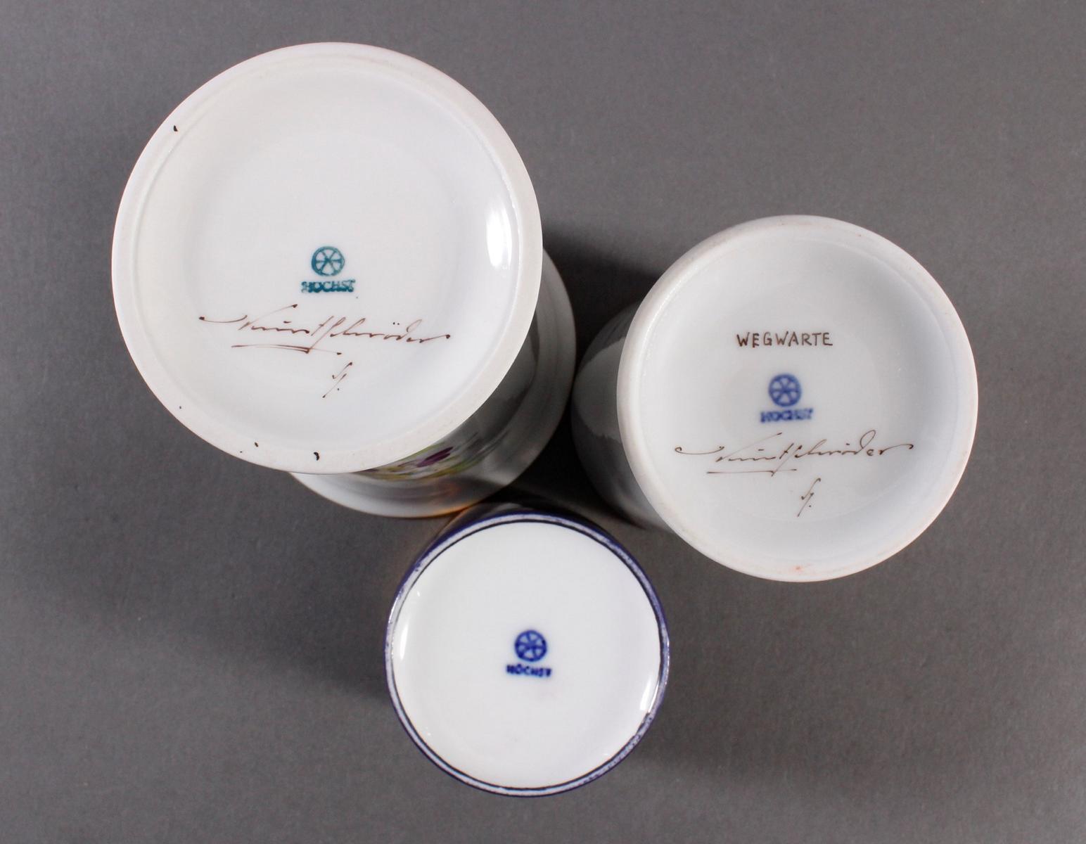 3 Vasen Höchst, 2 signiert Kurt Schröder-2