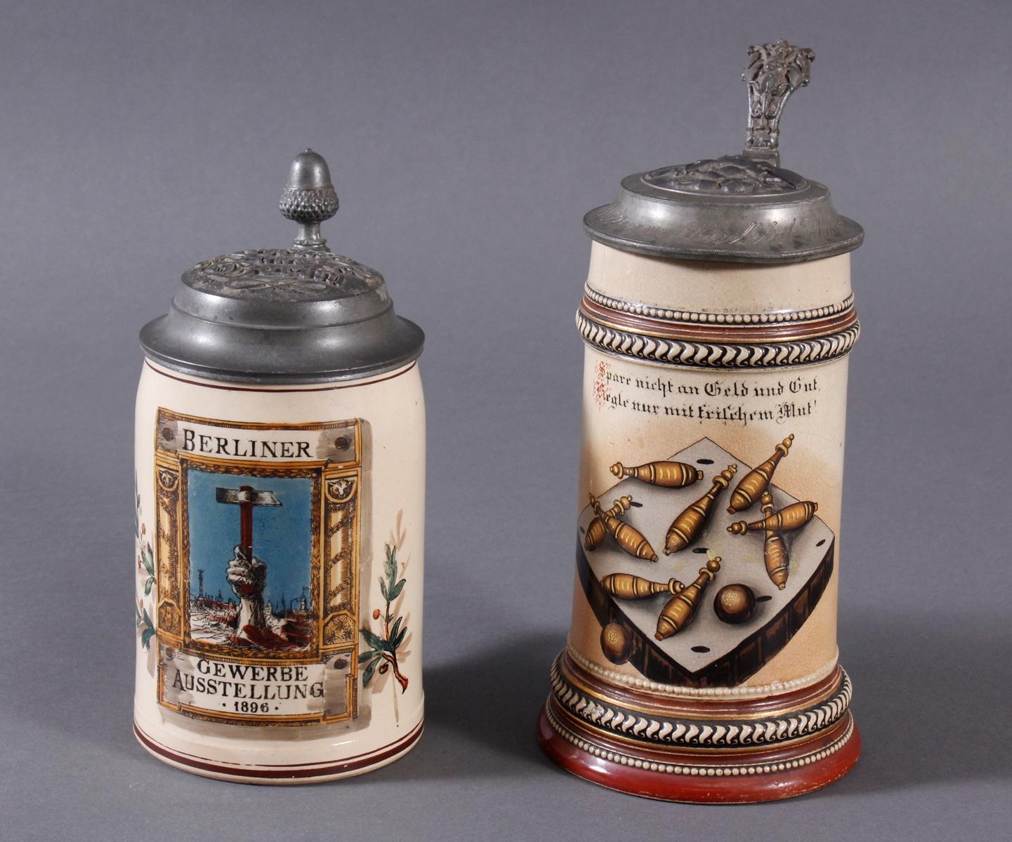 2 Keramikkrüge um 1900, Kegeln und Gewerbeausstellung
