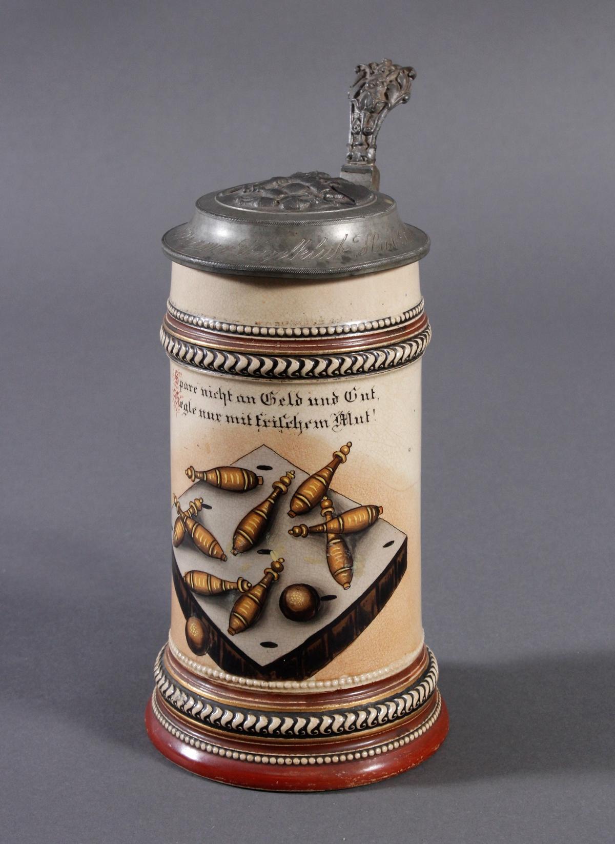 2 Keramikkrüge um 1900, Kegeln und Gewerbeausstellung-2