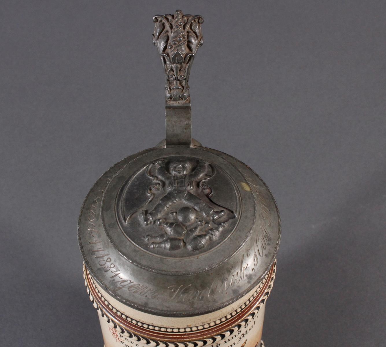 2 Keramikkrüge um 1900, Kegeln und Gewerbeausstellung-3