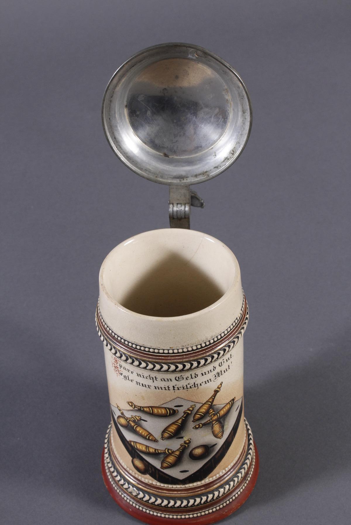 2 Keramikkrüge um 1900, Kegeln und Gewerbeausstellung-4