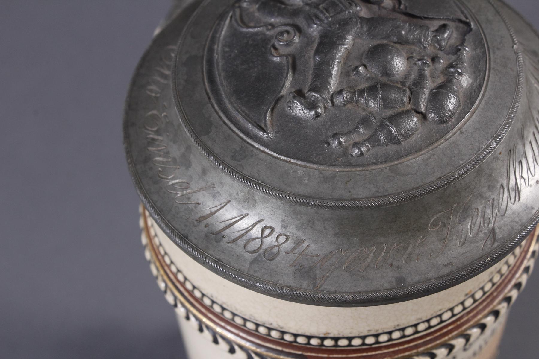 2 Keramikkrüge um 1900, Kegeln und Gewerbeausstellung-5