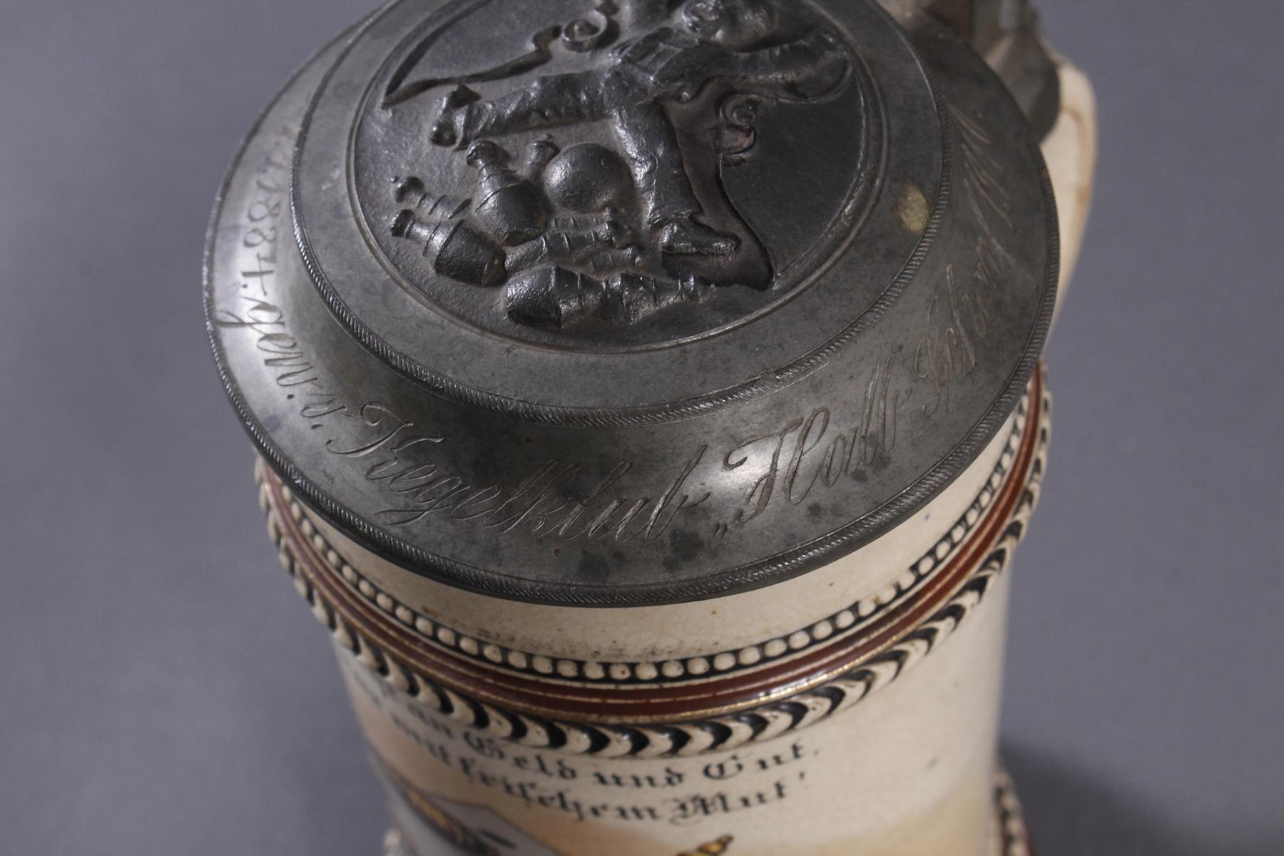 2 Keramikkrüge um 1900, Kegeln und Gewerbeausstellung-6