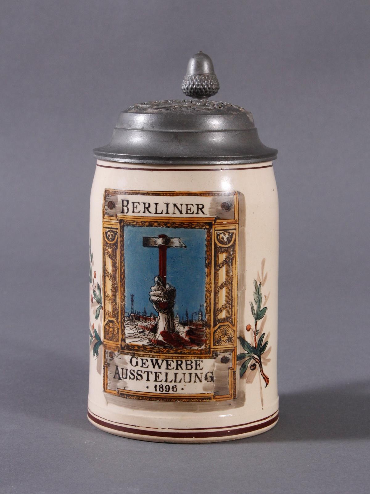2 Keramikkrüge um 1900, Kegeln und Gewerbeausstellung-9