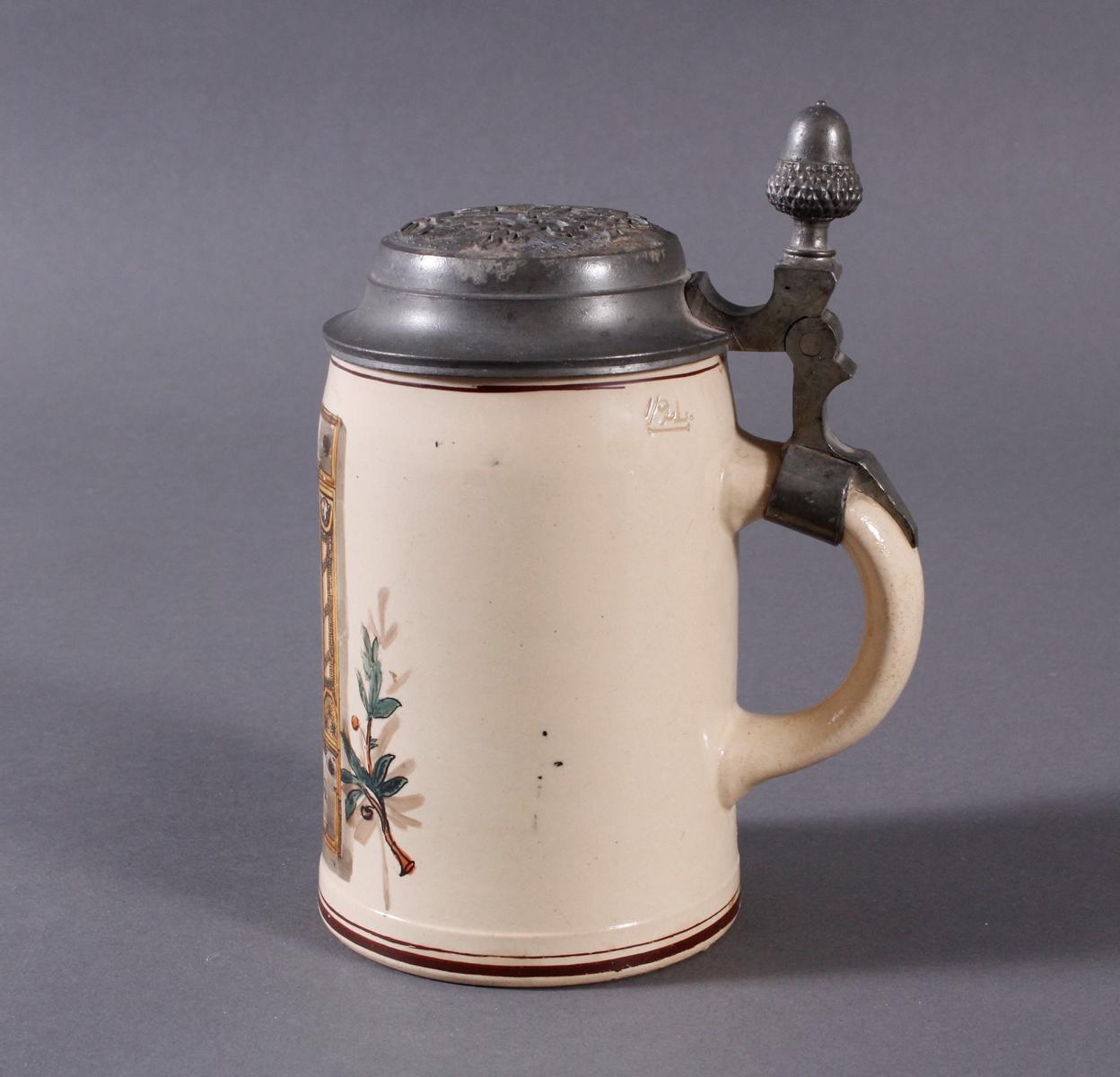 2 Keramikkrüge um 1900, Kegeln und Gewerbeausstellung-11
