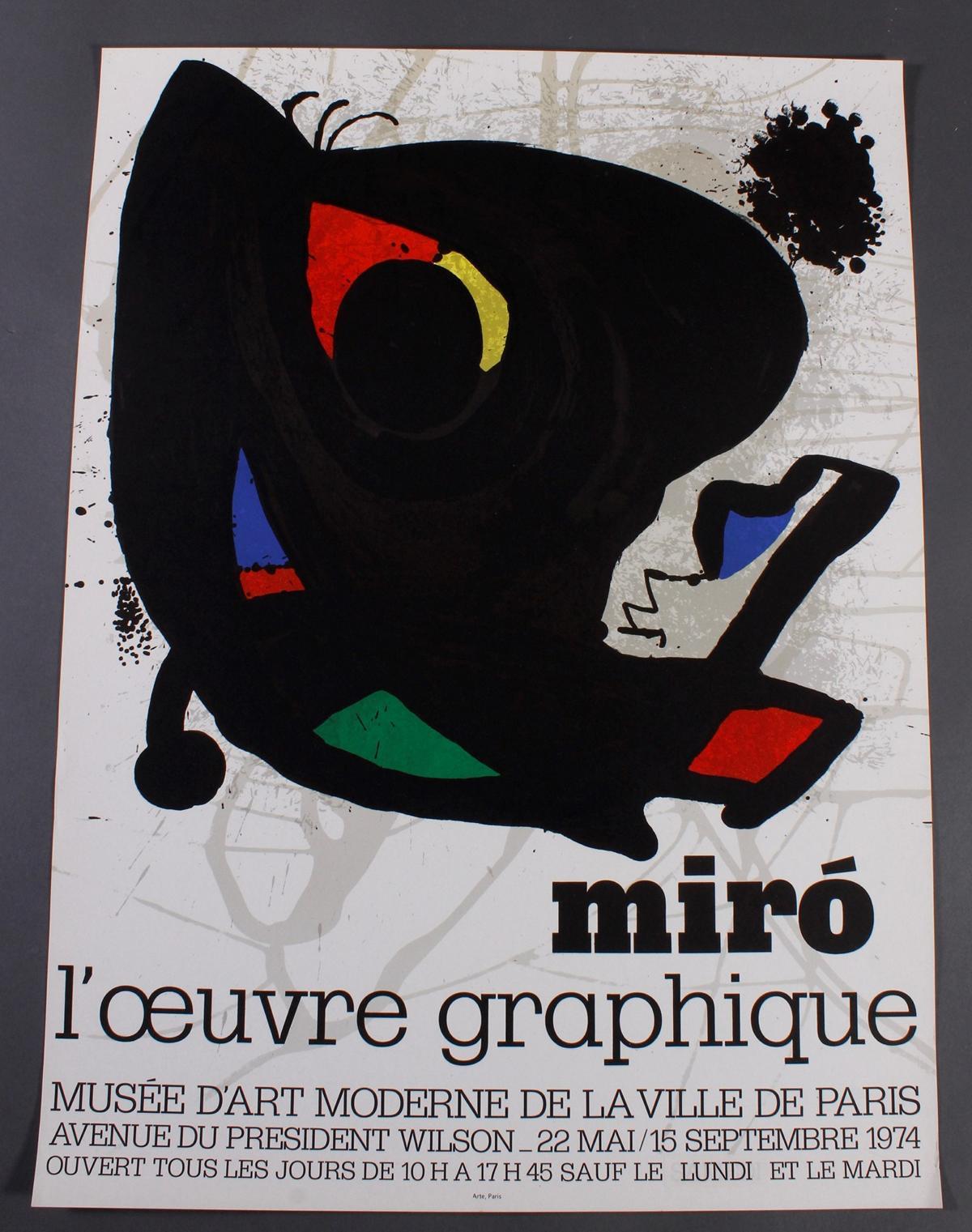 Joan Miro Plakat 'l'oeuvre graphique', Paris 1974