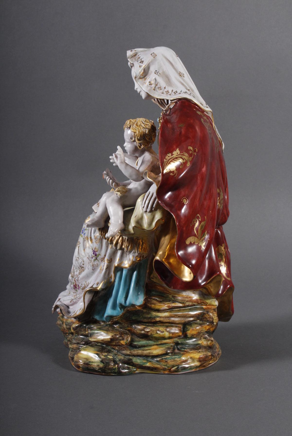 Keramik-Skulptur Madonna mit Kind, wohl Italien 2. Hälfte 20. Jh.-5
