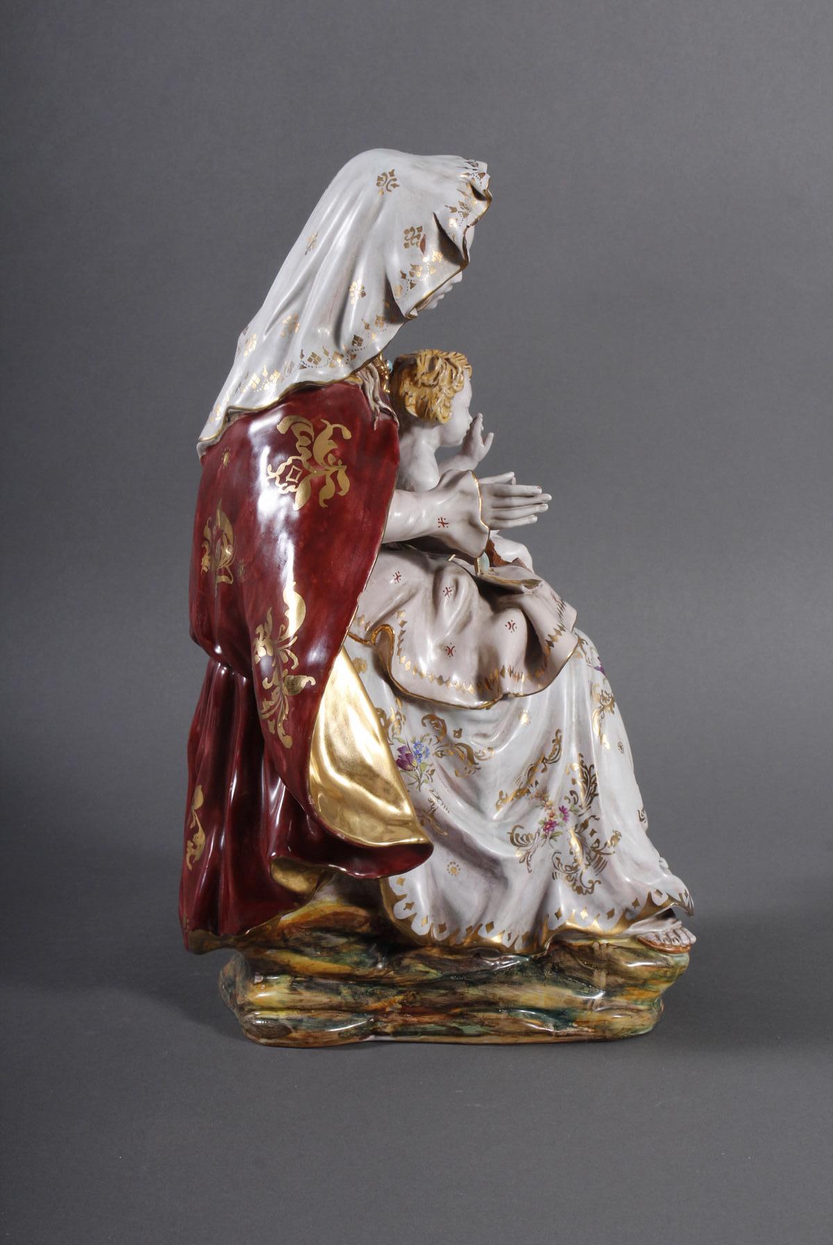 Keramik-Skulptur Madonna mit Kind, wohl Italien 2. Hälfte 20. Jh.-6