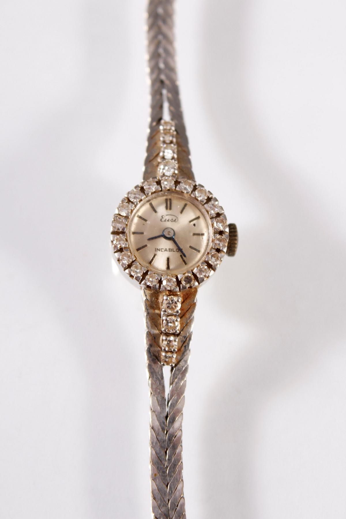 Damenarmbanduhr mit Diamanten, Marke Eusi, 18 Karat Weißgold-2