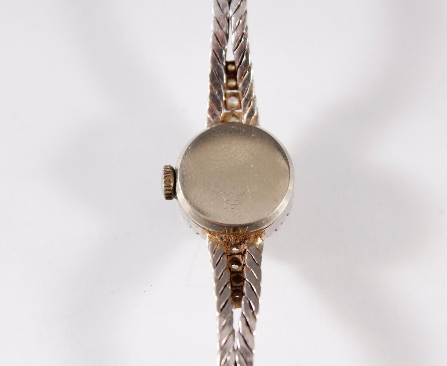 Damenarmbanduhr mit Diamanten, Marke Eusi, 18 Karat Weißgold-3