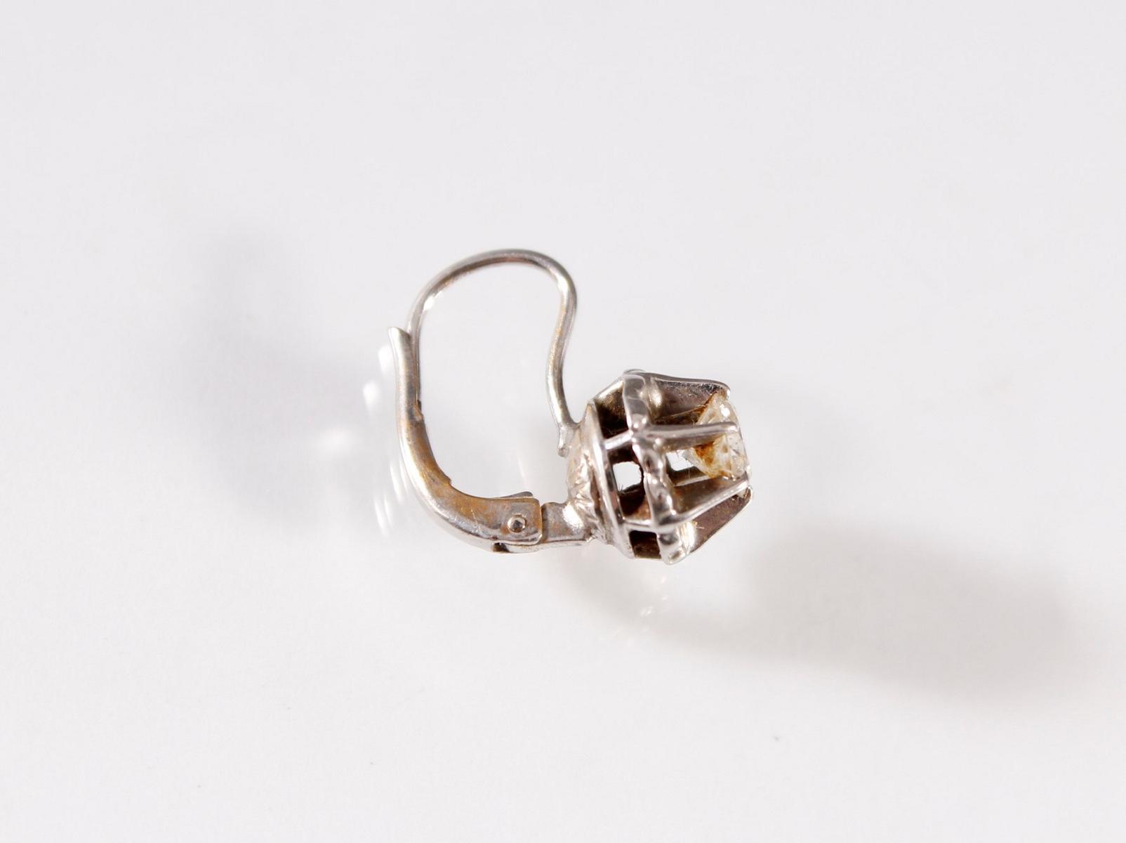Paar Weißgold-Ohrringe mit Diamanten, 18 Karat-2