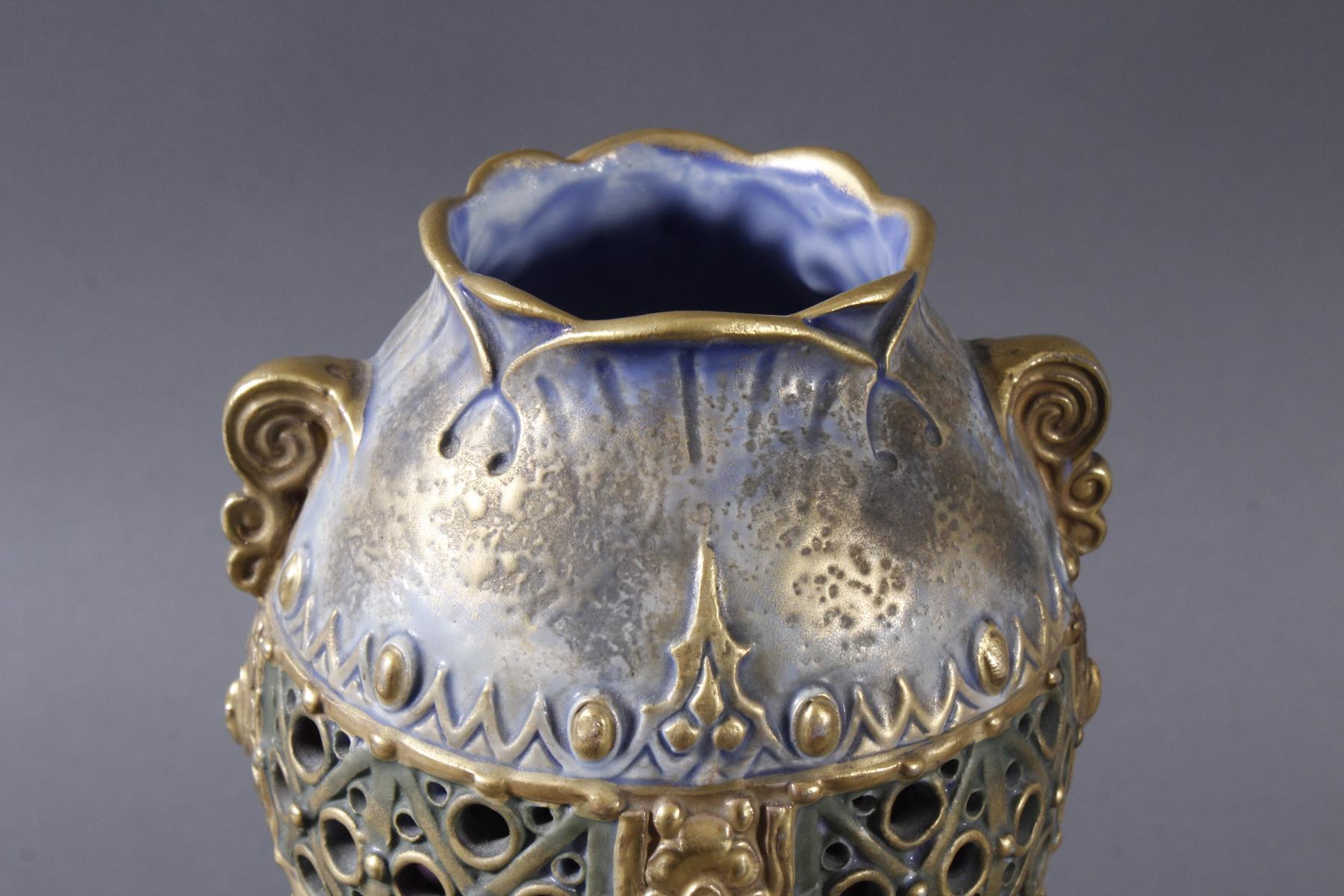 Jugendstil Keramikvase Amphora Austria-5
