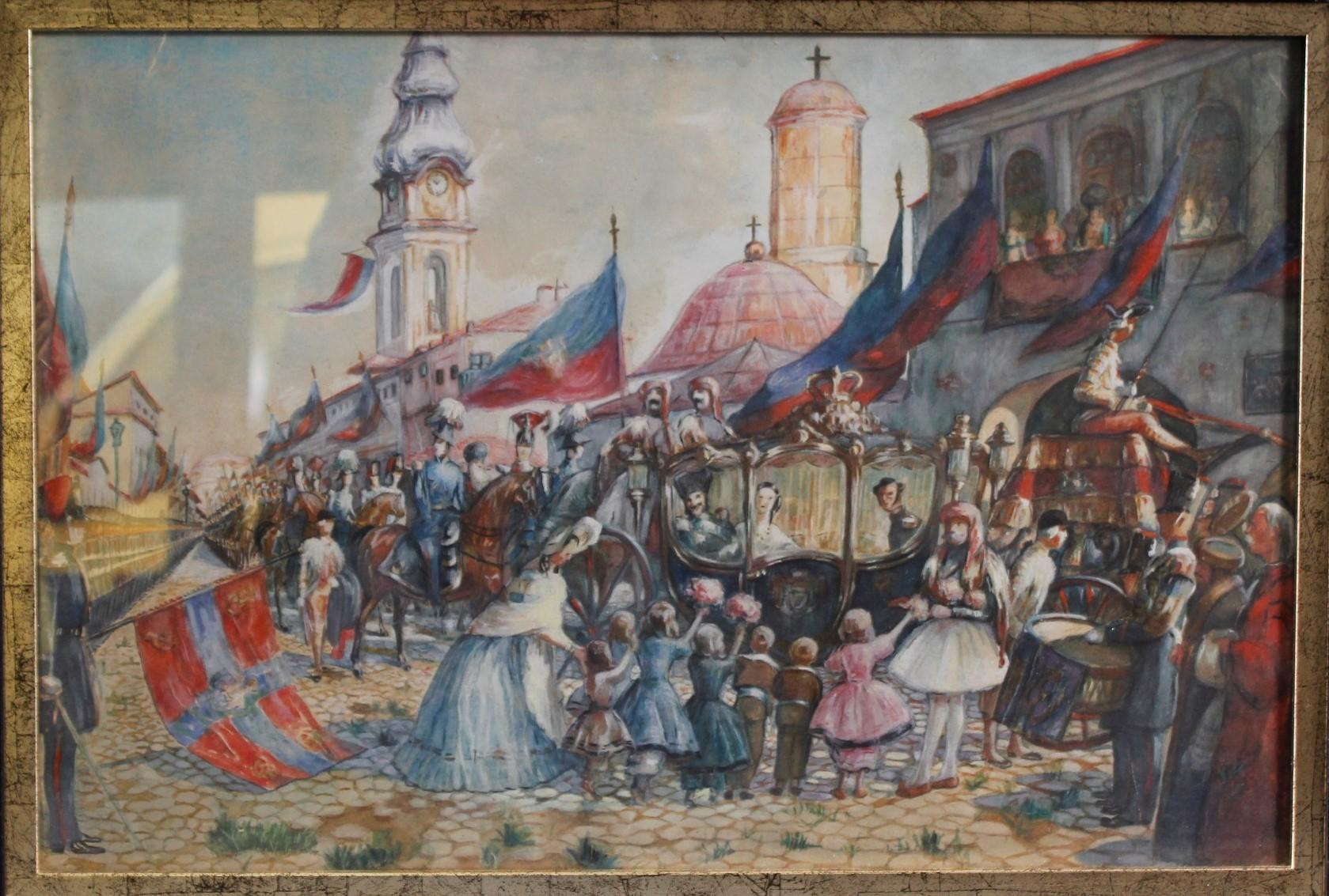 Kaiser Franz Joseph mit Gemahlin Sissi zu Besuch in Sarajewo 1914-2