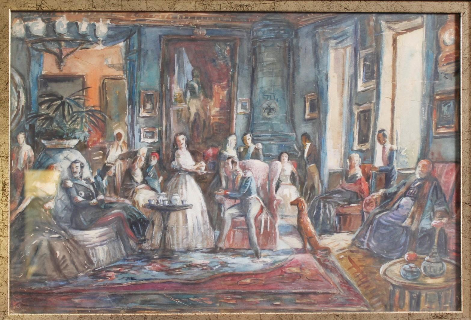 Kaiser Franz Joseph mit Gästen beim Tee, um 1914-2