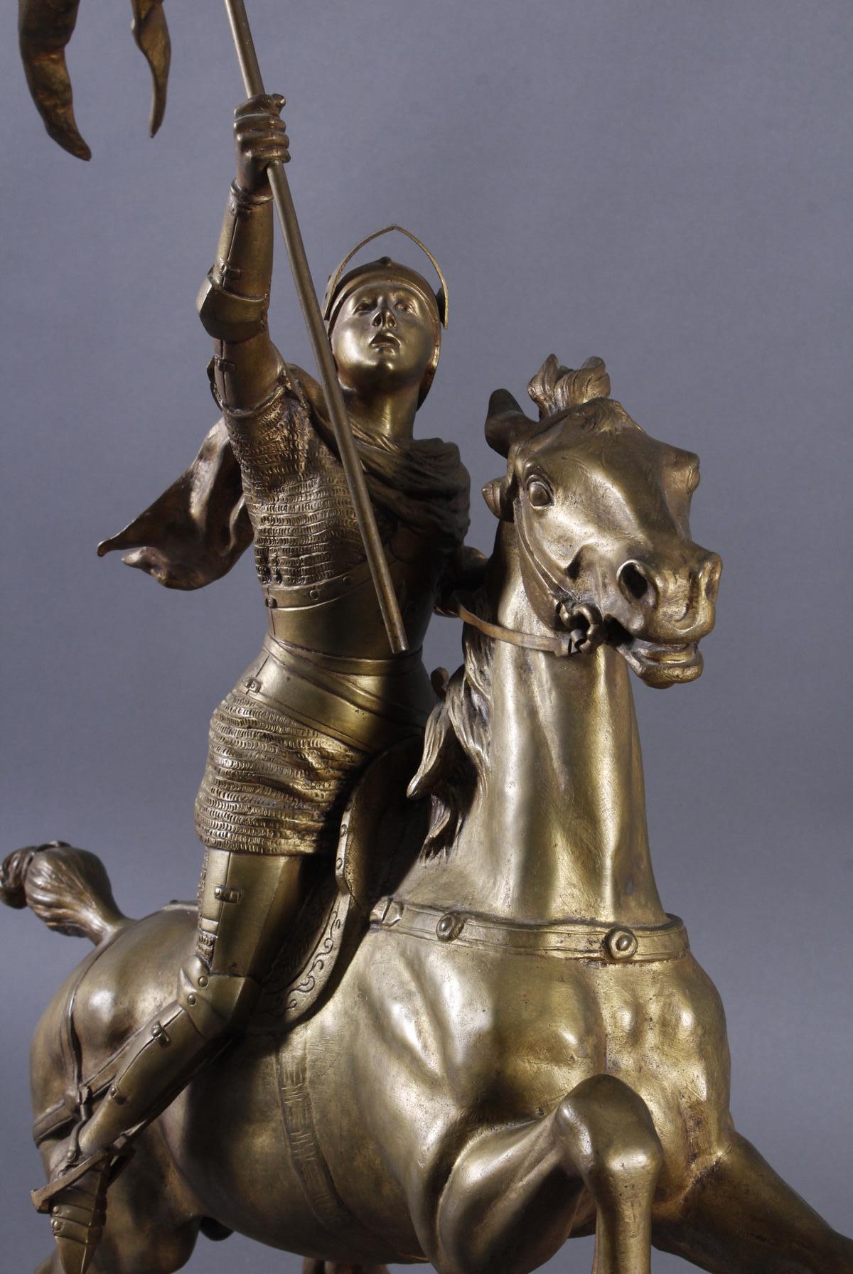 Conrad Portalis, große Bronzeskulptur auf ovalem Marmorsockel-3
