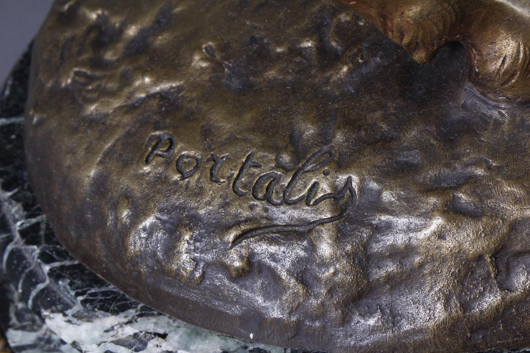 Conrad Portalis, große Bronzeskulptur auf ovalem Marmorsockel-4