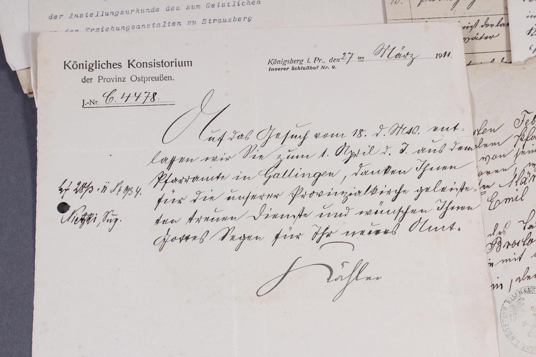 Dokumente, Urkunden uä. eines Pfarrers in Königsberg (Ostpreußen)-3