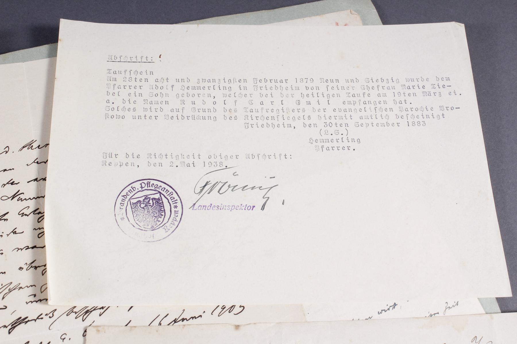 Dokumente, Urkunden uä. eines Pfarrers in Königsberg (Ostpreußen)-4