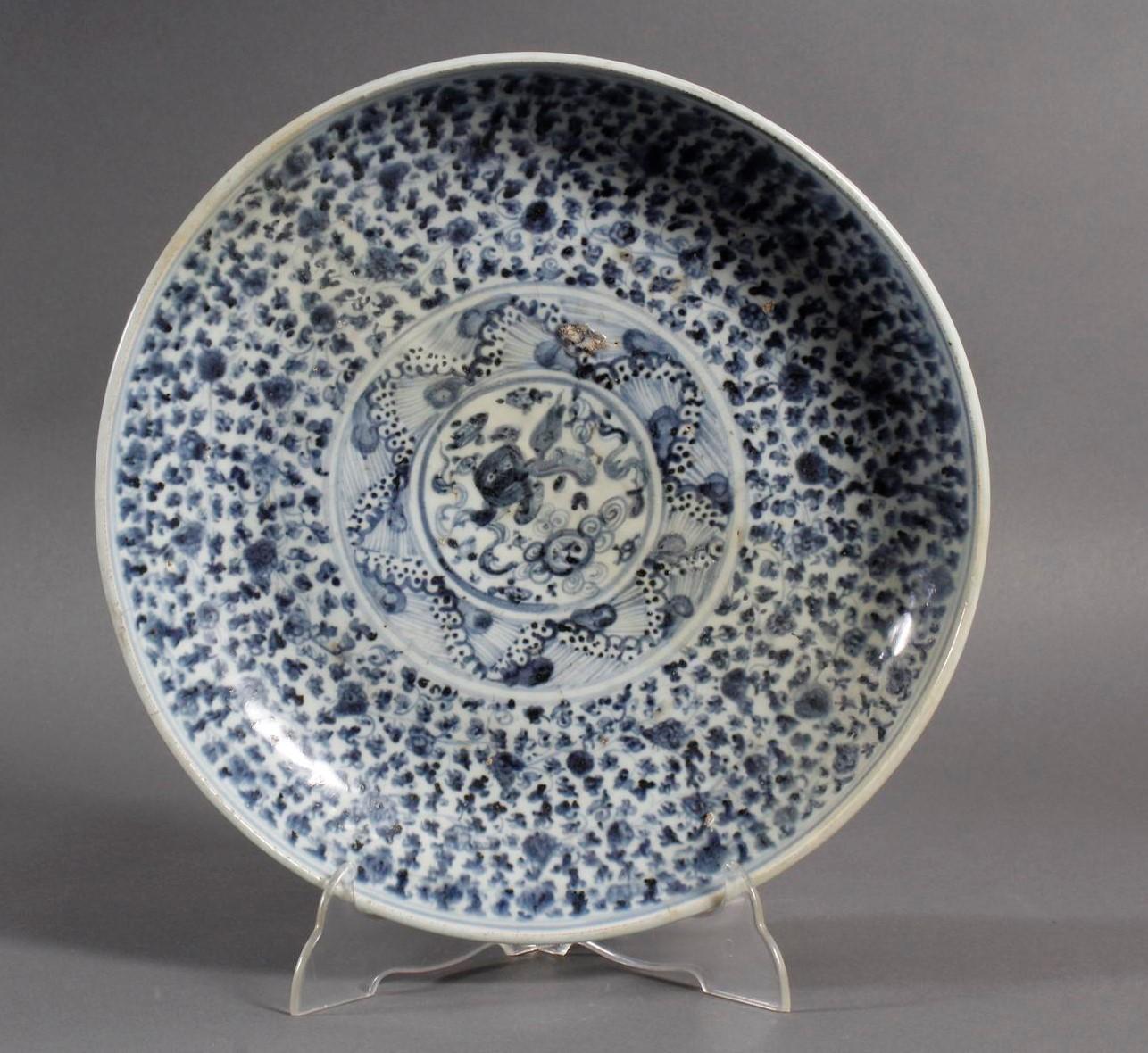 Porzellan-Rundplatte, Ming / Quing Dynastie