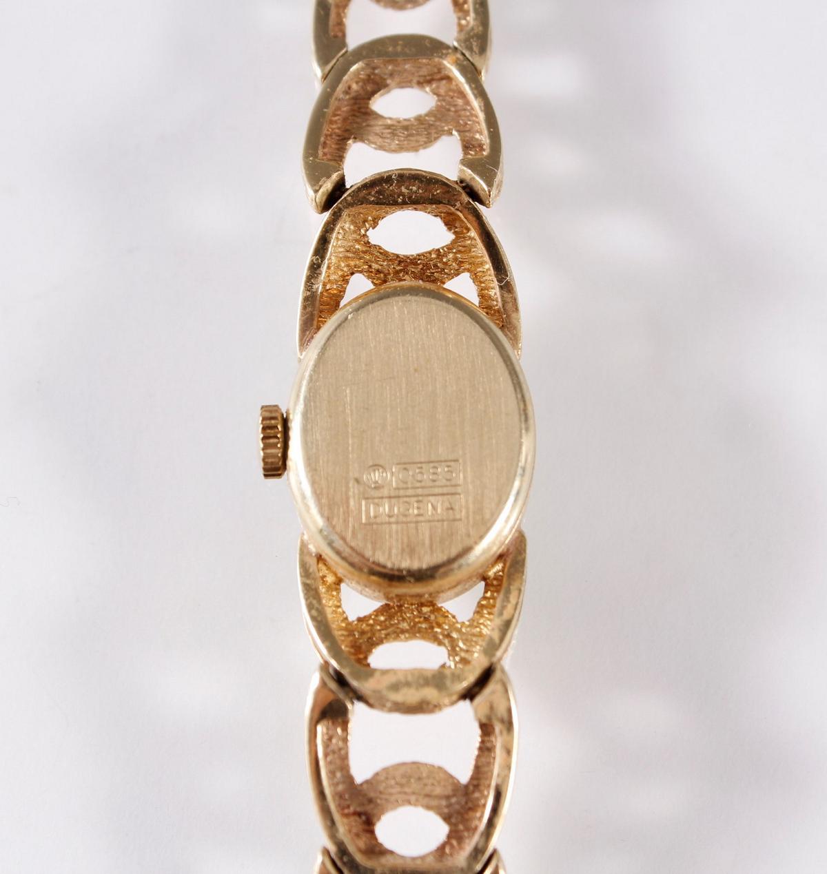 Dugena Damenarmbanduhr, 14 Karat Gelbgold-3
