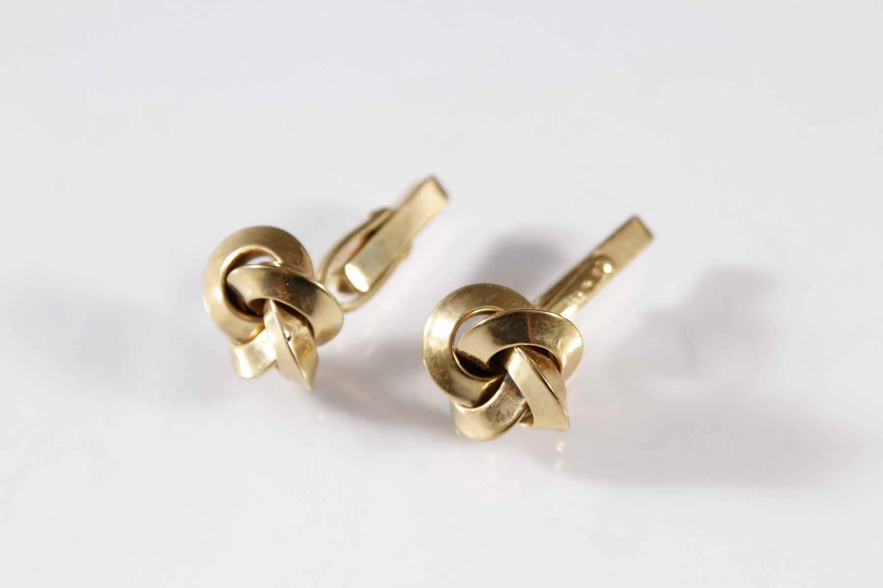 Paar Manschettenknöpfe, 8 Karat Gelbgold-2