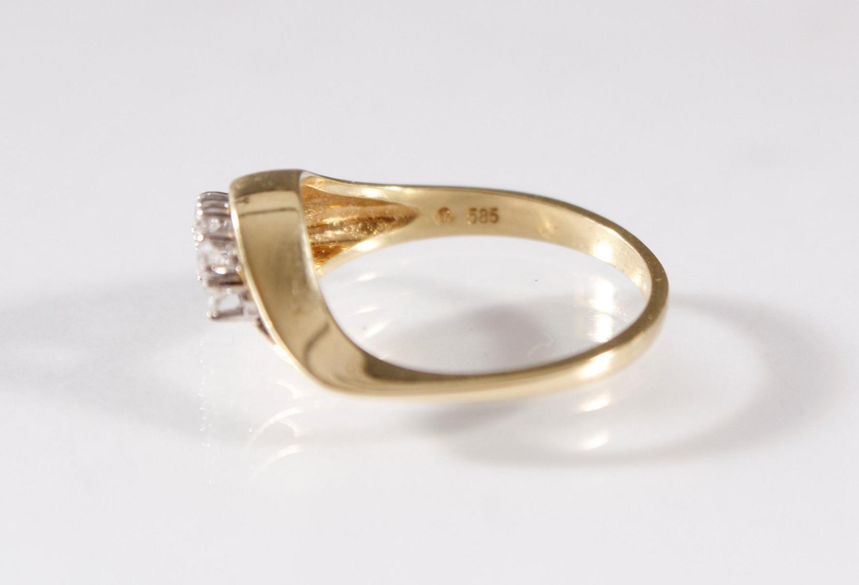 Damenring mit Diamanten , 8 Karat Gelbgold-3
