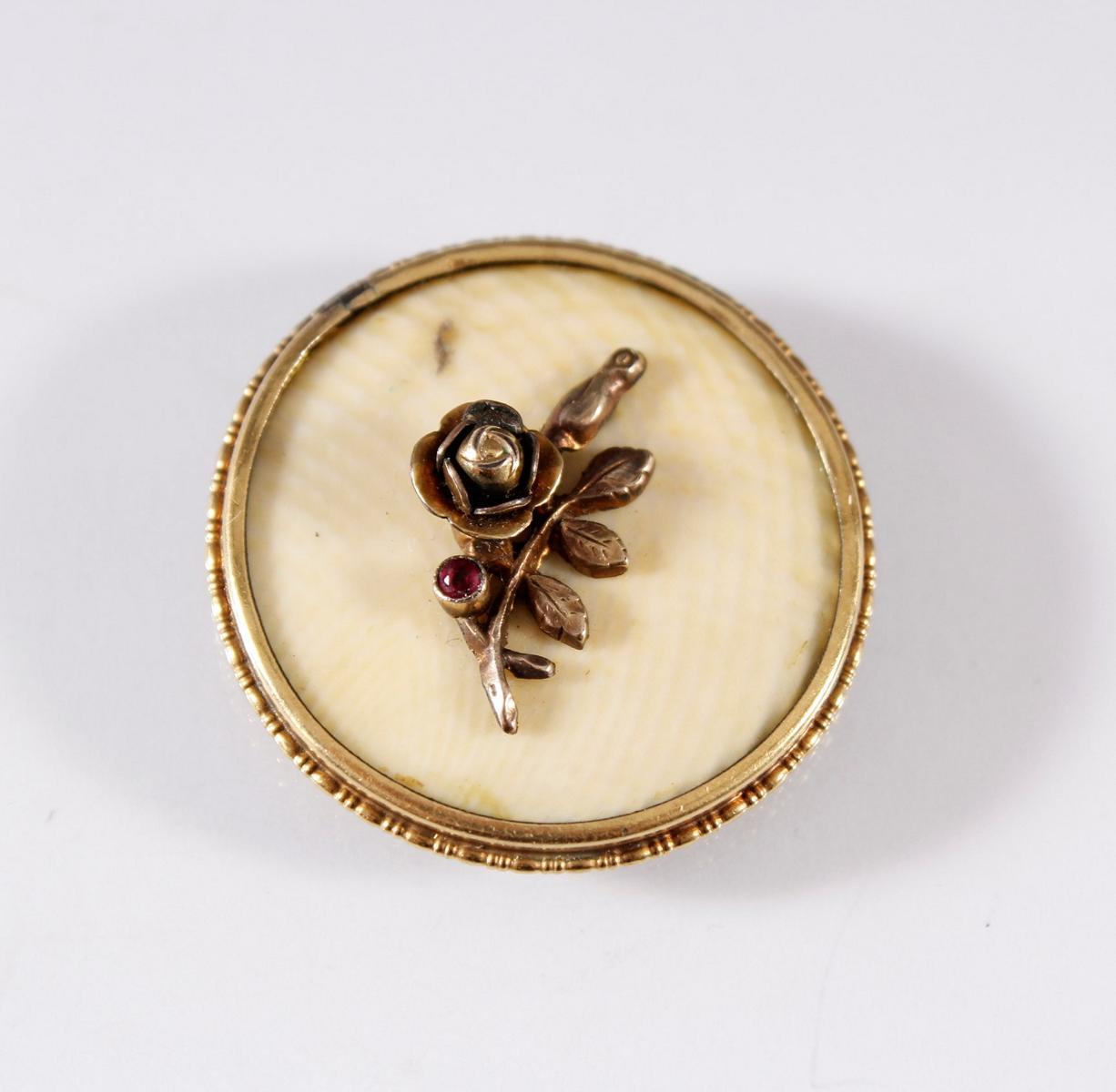 Antikes Amulett aus Elfenbein mit Goldrose und Fassung, 8 Karat Gelbgold