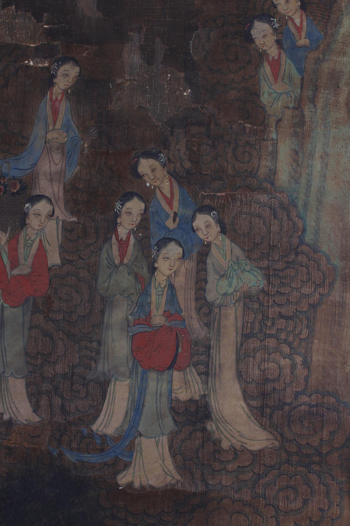 Stoffmalerei, China 18./19. Jahrhundert-2