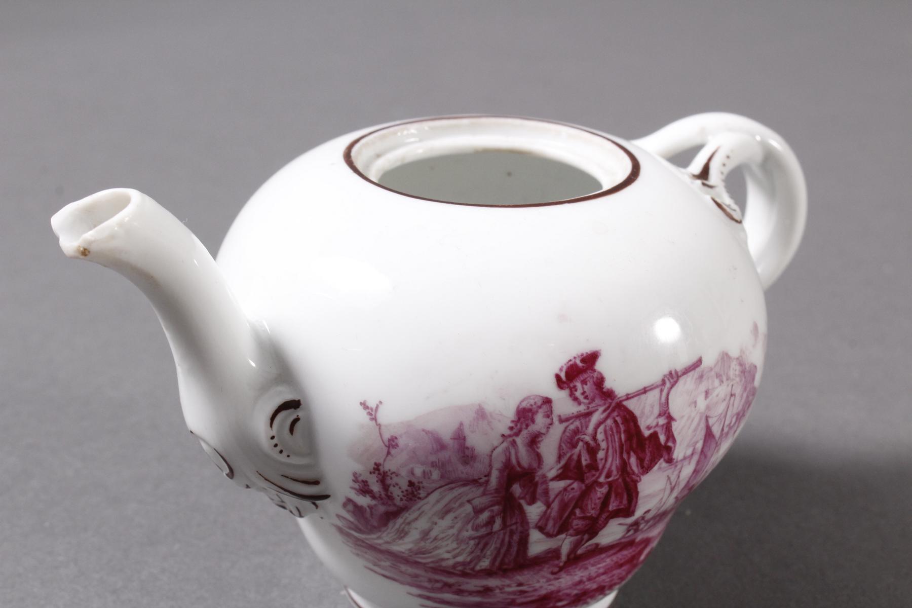 Kleines Meissen Porzellan Teekännchen um 1800-4