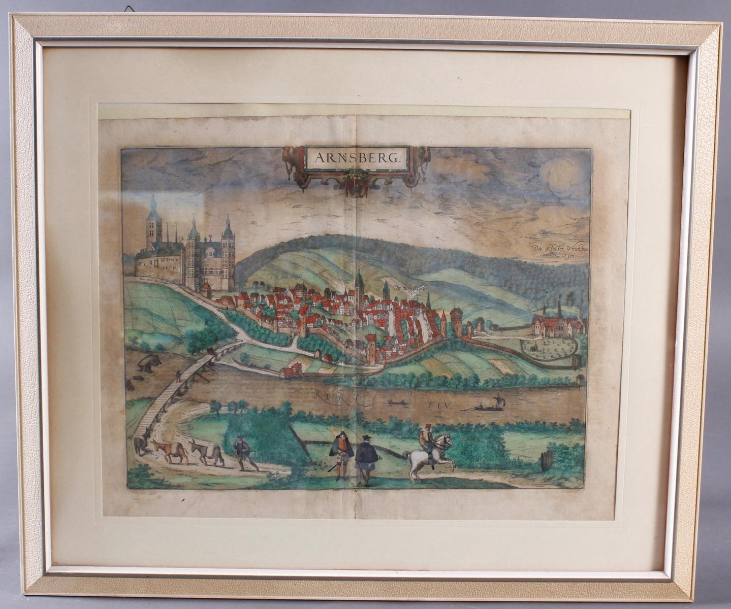 Barocker Kupferstich, Stadtansicht von Arnsberg wohl 17. Jahrhundert