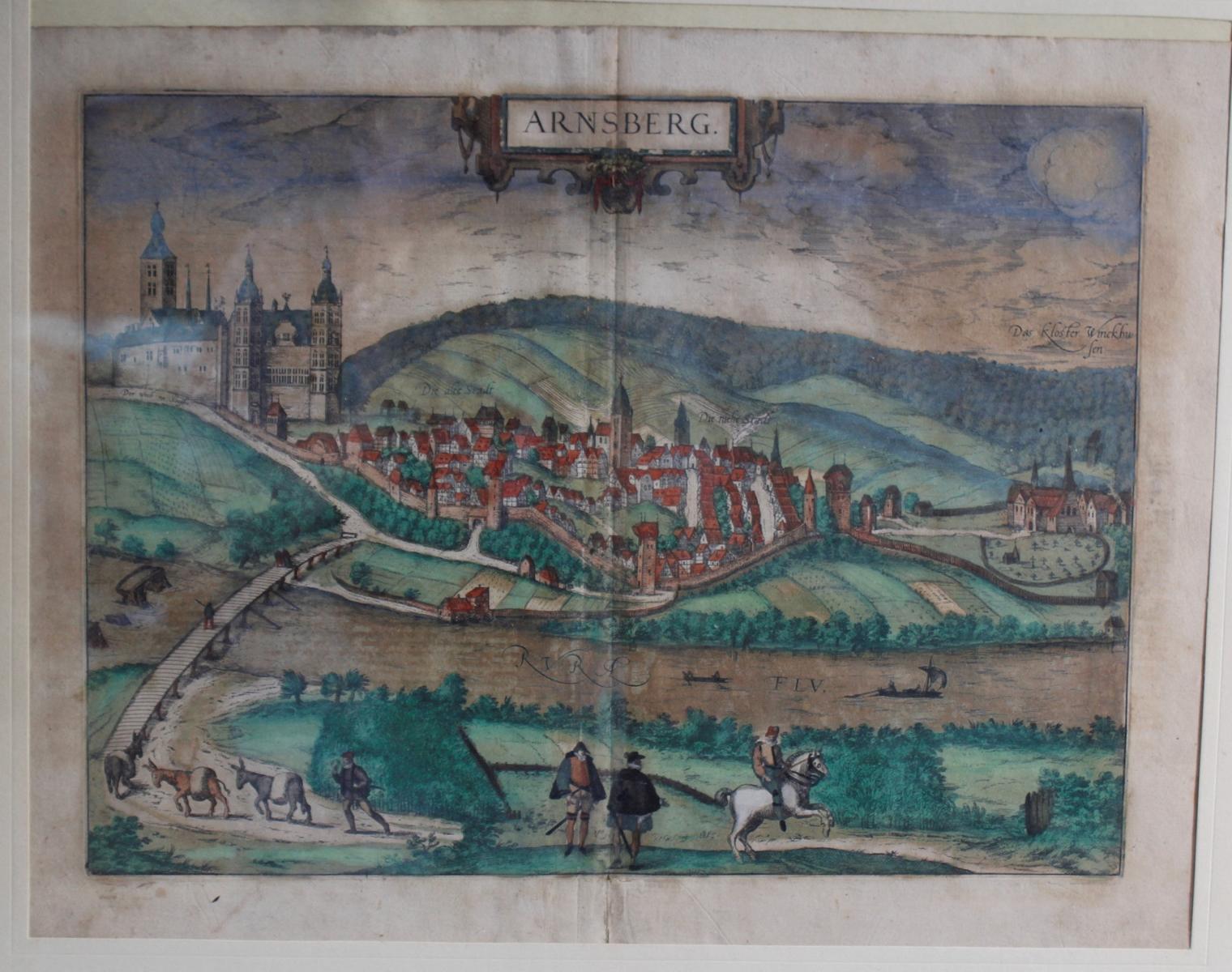 Barocker Kupferstich, Stadtansicht von Arnsberg wohl 17. Jahrhundert-2