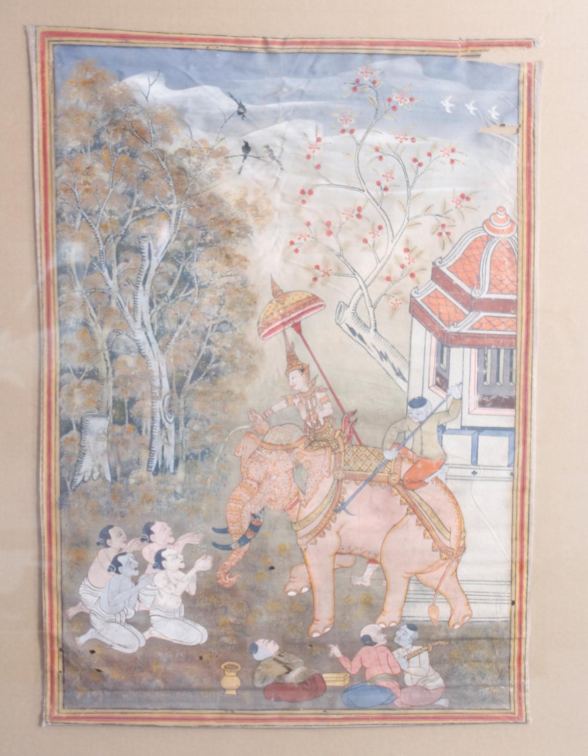 Buddhistische Stoffmalerei, 19. Jahrhundert. Vessantara Jataka-2