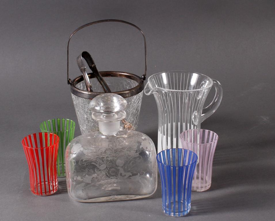 Sechsteiliges Glas Konvolut, 50er Jahre