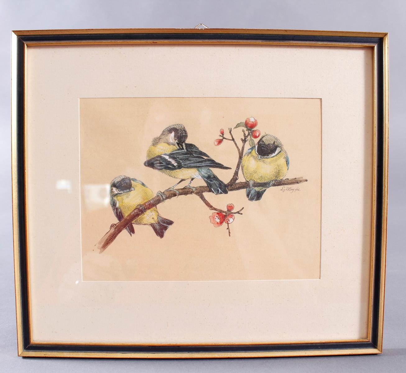Ly Wei ?-?, 3 Vögel auf einem Kirschblütenzweig sitzend