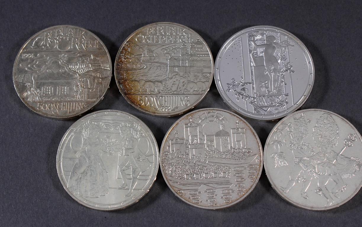 Österreich 2. Republik, 6 Stück 500 Schilling Münzen von 1992-1994